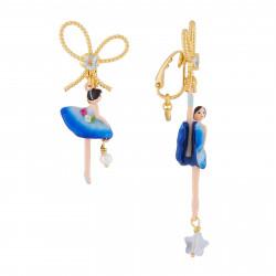 Boucles D'oreilles Boucles D'oreilles Asymétriques Clip Ballerine Bleu Roi Et Pierre