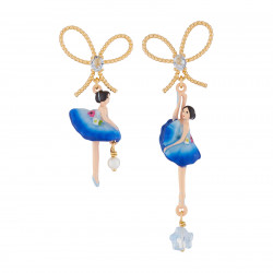 Boucles D'oreilles Pendantes Boucles D'oreilles Asymétriques Tige Ballerine Bleu Roi Et Pierre