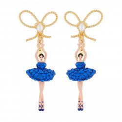 Boucles D'oreilles Boucles D'oreilles Clip Ballerine Strass Bleu Roi Et Perle