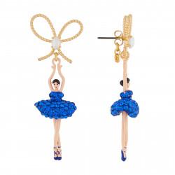 Boucles D'oreilles Pendantes Boucles D'oreilles Tige Ballerine Strass Bleu Roi Et Perle