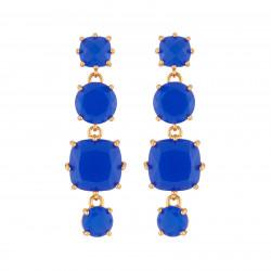 Boucles D'oreilles Pendantes Boucles D'oreilles Pendantes Tige La Diamantine 4 Pierres Bleu Roi