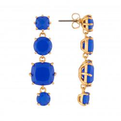 Boucles D'oreilles Boucles D'oreilles Pendantes Tige La Diamantine 4 Pierres Bleu Roi