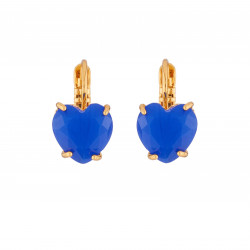 Boucles D'oreilles Boucles D'oreilles Dormeuse Cœur Pierre Bleu Roi La Diamantine
