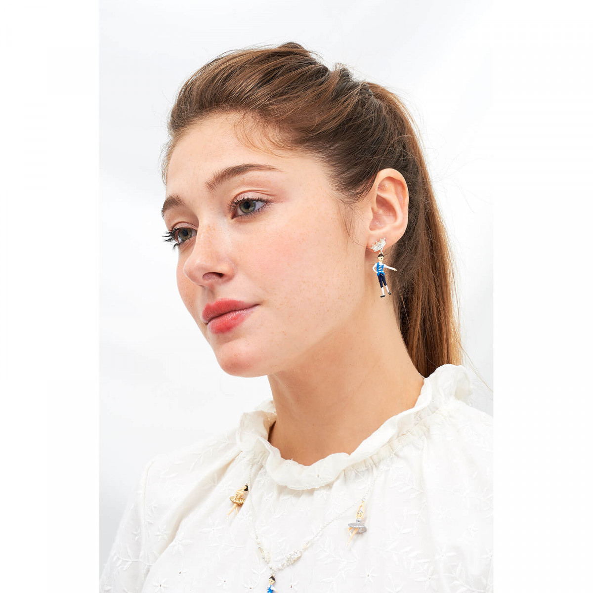 Post earrings La Diamantine seven stones light honey