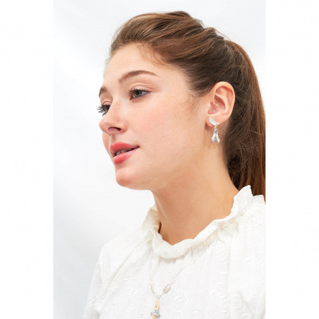 Post earrings La Diamantine three stones light honey
