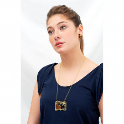 Triple raw necklace La Diamantine light honey