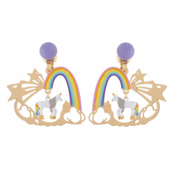 Boucles D'oreilles Boucles D'oreilles Clip Licorne Et Arc-en-ciel
