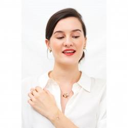 Colliers Pendentifs Collier Cœur En Fleur Emaillé, Coccinelle Et Fleurs Blanches