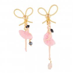 Boucles D'oreilles Clip Boucles D'oreilles Clips Asymétriques Ballerines Roses Et Nœud