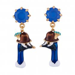 Boucles D'oreilles Originales Boucles D'oreilles Tête De Léon Le Paon Et Verre Taillé Bleu75,00€ AGGJ101T/1N2 by Les Néréides
