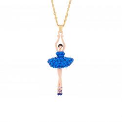 Colliers Pendentifs Collier Pendentif Ballerine Strass Bleu Roi