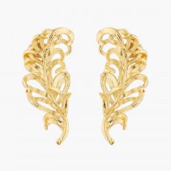Golden Swan Feather Stud...