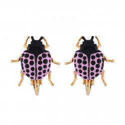 Purple Beetle Clip-on Earrings