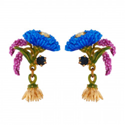 Earrings With Blue Flower,...