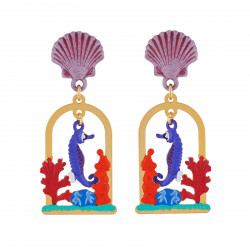 Earrings Seahorse Swimming...
