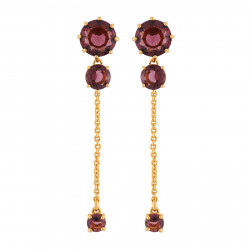 Earrings With 3 Round Plum...