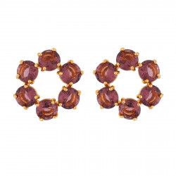 Small Hoops With 6 Plum Stones