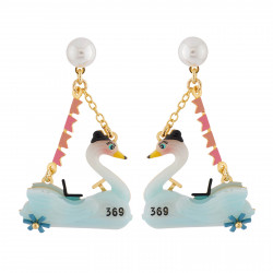Bumper-car Swan Earrings