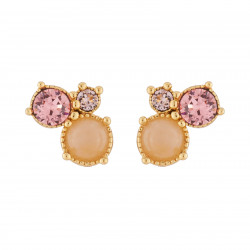 3 Pink Stones Stud Earrings