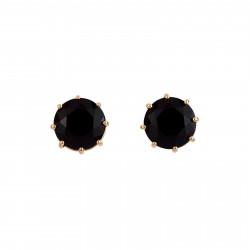 Black Round Stone Earrings