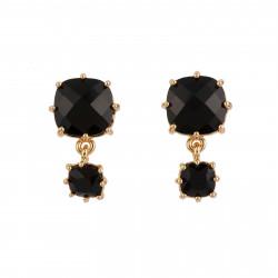 2 Black Square Stones Earrings