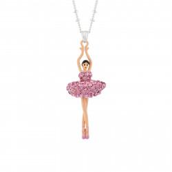 Colliers Pendentifs Collier Pendentif Ballerine Strass Rose
