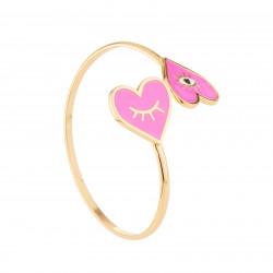 Pink Heart Bangle Bracelet