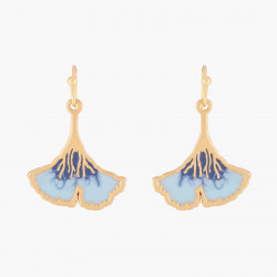 Blue Gingko Hook Earrings