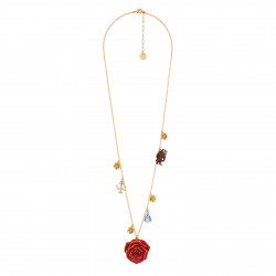 Long Necklace Red Rose And...