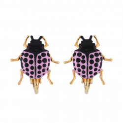 Purple Beetle Clip-on Earrings