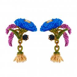 Earrings With Blue Flower,...