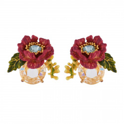 Earrings Purple Flower With...