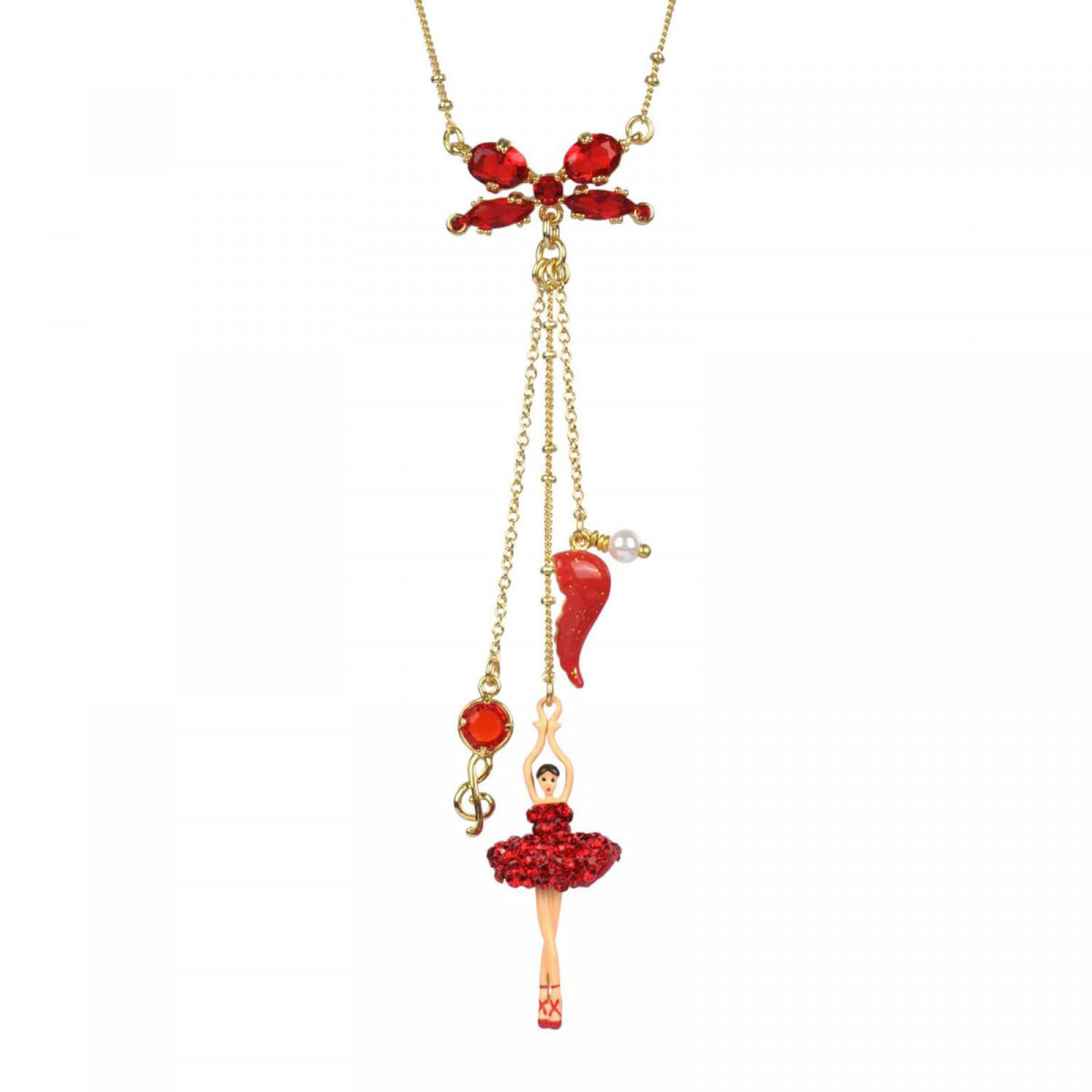 Necklace Treble Clef And Ballerina With Tutu With Red Rhinestones