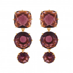 3 Plum Stones Earrings