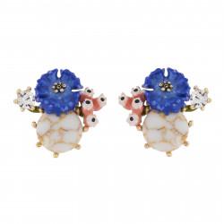 Cornflower On Stone Earrings