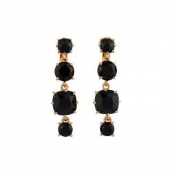4 Black Stones Clip Earrings