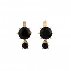 2 Black Round Stones Earrings