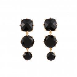 3 Black Stones Earrings