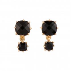2 Black Square Stones Clip...