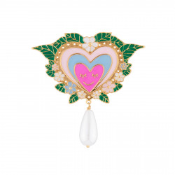 Pink Heart And Pearl Brooch